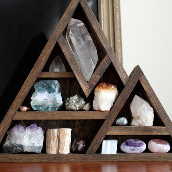 Wooden Crystal Storage Shelves | InMySacredSpace.com | #InMySacredSpace